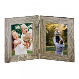 Marco de madera  doble color gris para foto 10x15 y 15x20.