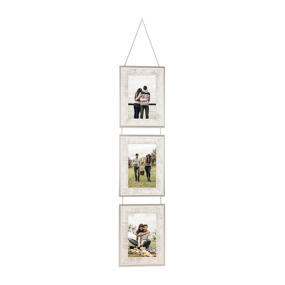 Marco de madera para 3 fotos en 10x15 vertical o 15x20 vertical en color gris y plata  Para colgar.